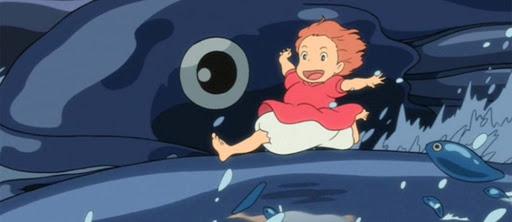 niña sobre una ballena en la película Ponyo en el acantilado