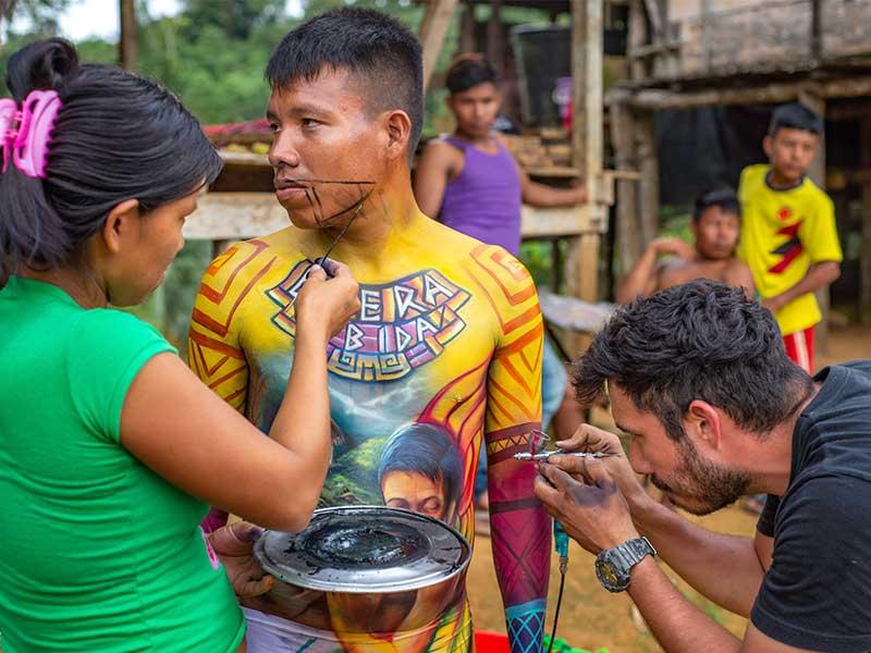 Transformarte de colores body paint indigenas