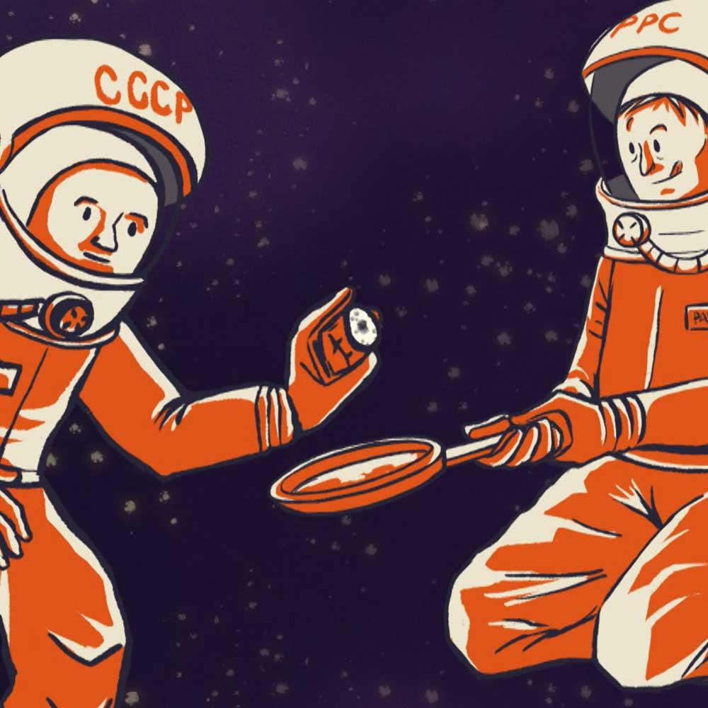 un par de astronautas ilustrados en la serie laika en las estrellas