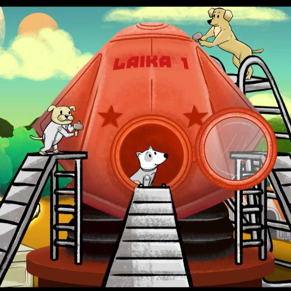 ilustración de unos perros arreglando una nave espacial