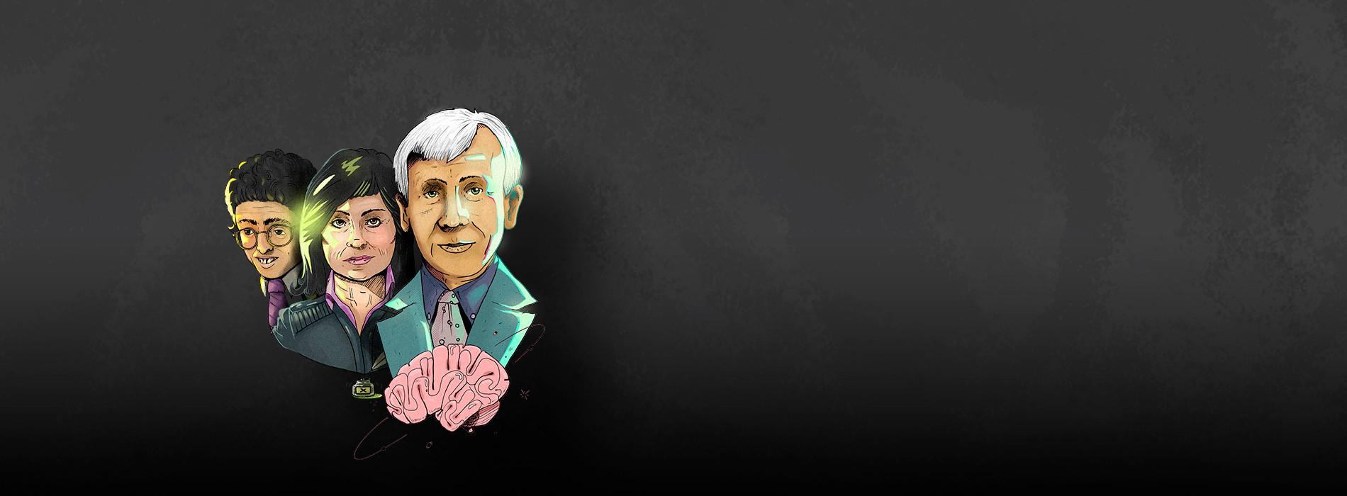 Ilustración Jaime Garzón, Laura Restrepo y Rodolfo Llinás por Elver Mora