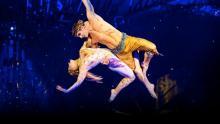 Dos personas en espectáculos circenses del Circo del sol