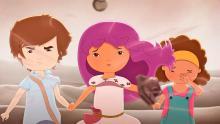 Tres niños miran al horizonte en la película El libro de lila