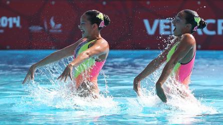 La dupla colombiana de natación artística