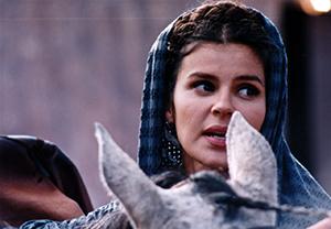 La actriz Marcela Agudelo interpretando a Sofía Millán en el telefilme Bituima 1780