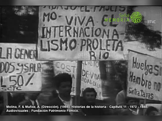 Muñoz, Astrid (realizadora). (1995). Historias de la historia. [Serie documental] [Cap. 11: Que bomba camará (1972-1980)]. Colombia: Audiovisuales – Fundación Patrimonio Fílmico Colombiano. Archivo Señal Memoria, C1P-243459.