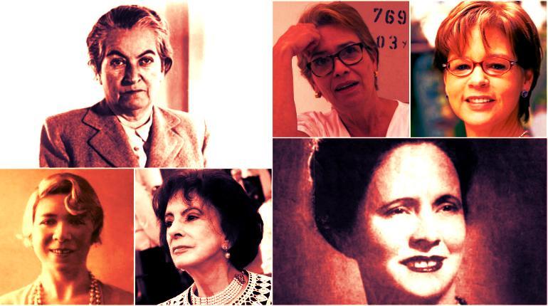 Gabriel Mistral, Ángela Botero, Piedad Bonett, Alfonsina Storni, Amira de la Rosa y Olga Elena Mattei