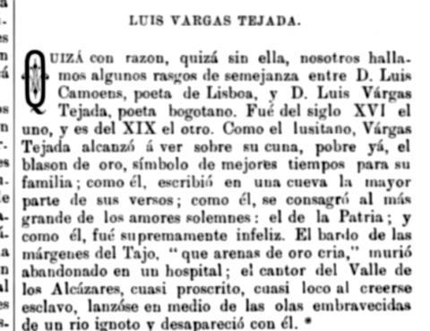 Fragmento sobre Luis Vargas Tejada - 1881