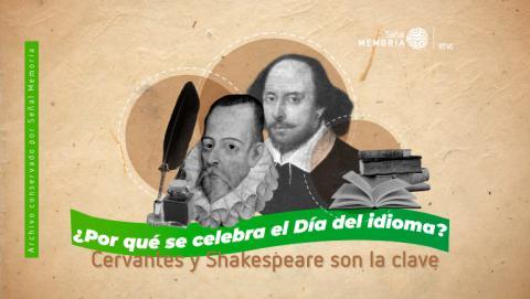 Retrato de Miguel de Cervantes y William Shakespeare en conmemoración del día del idioma