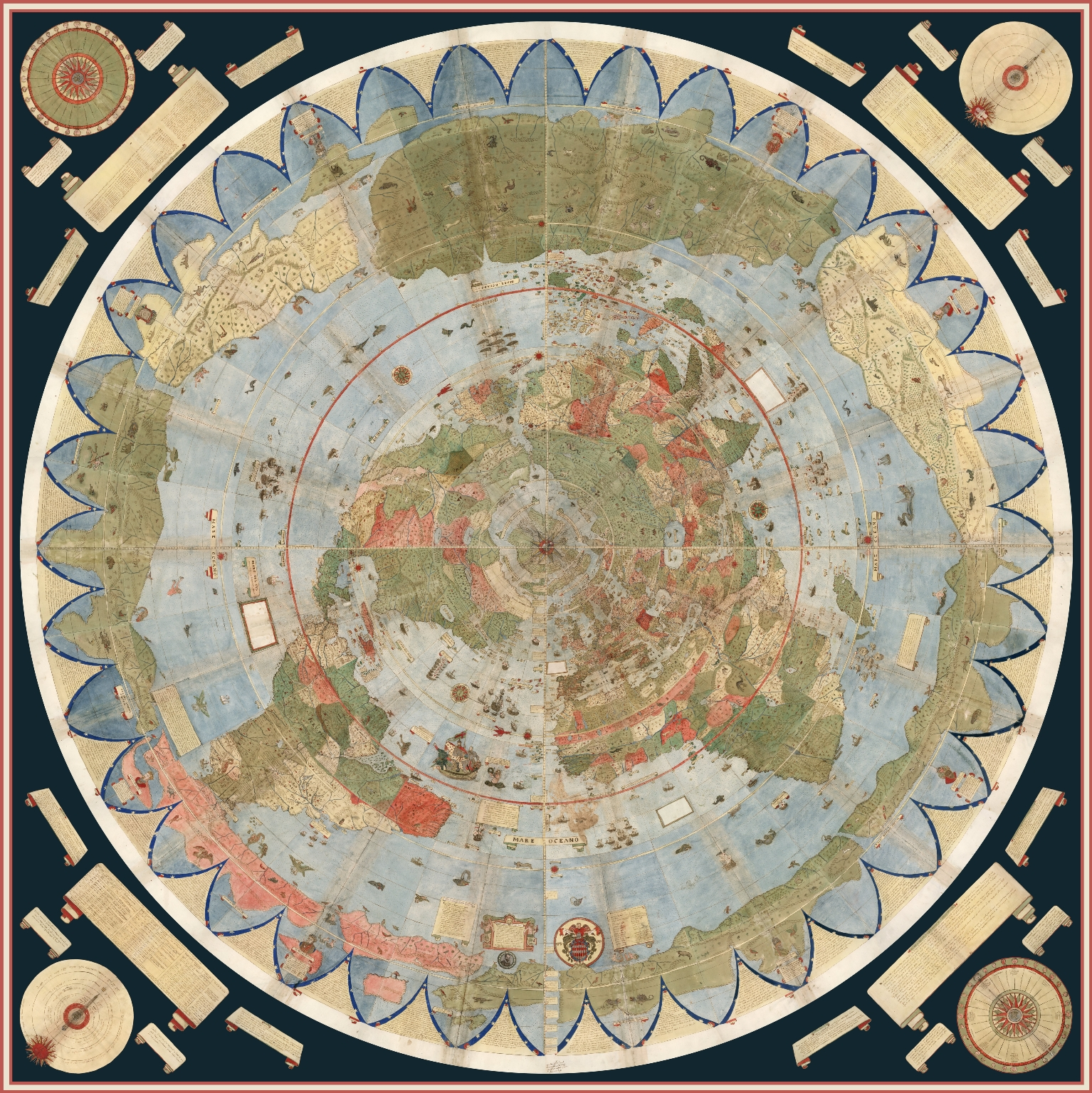 The 10 Foot Diameter Planisphere Digitally Assembled from Monte's 60 Sheet  Gores with Additional Sheets for the Corners