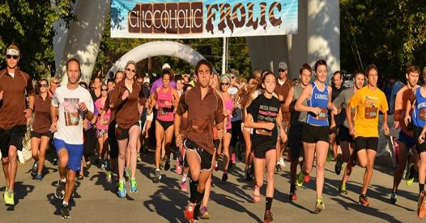Chocoholic runners at the starting line.