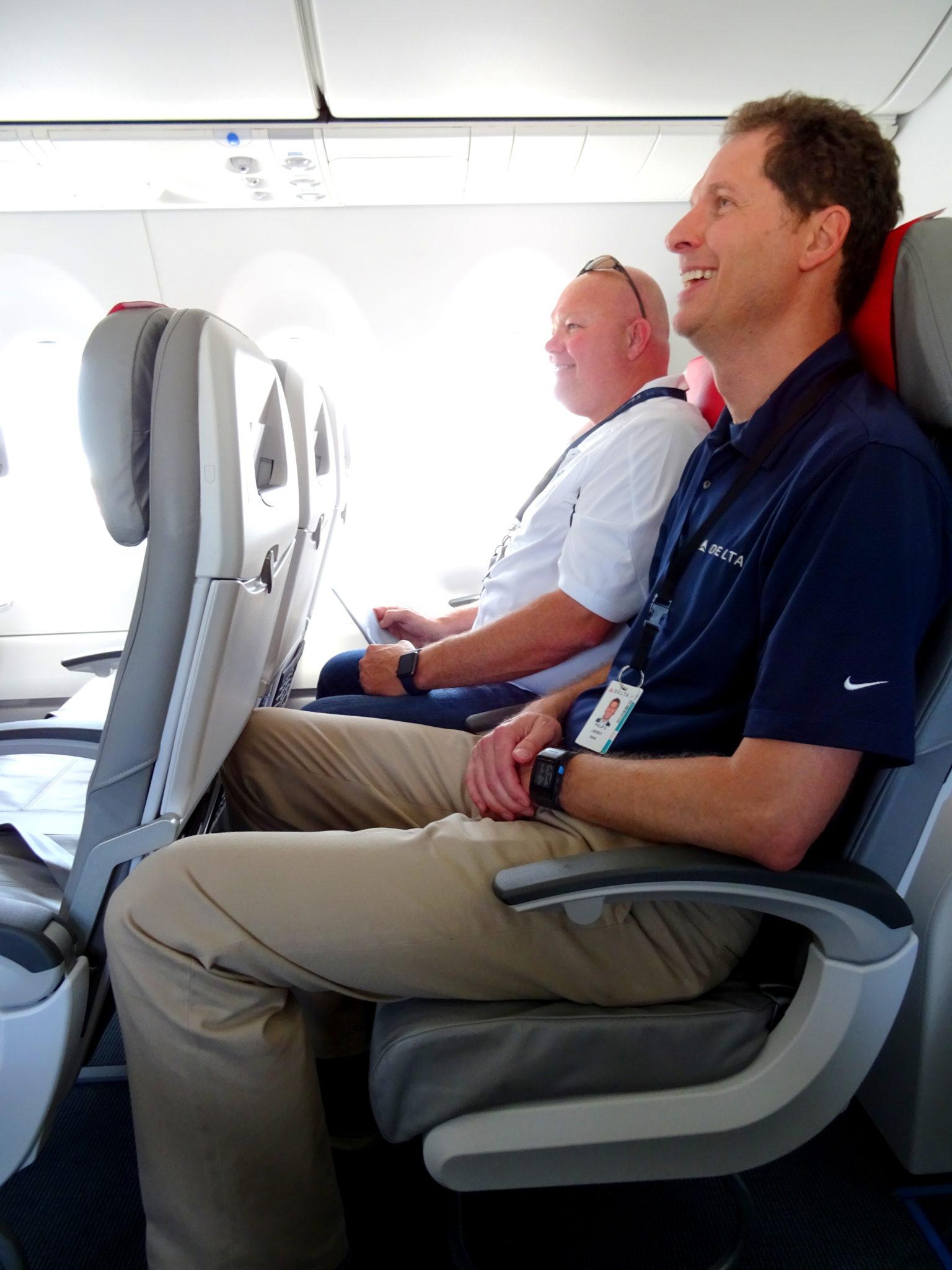 """This 6'4"""" Delta employee found the C Series economy seats spacious enough."""