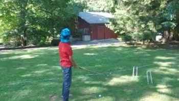 Sammy hitting it over the barn