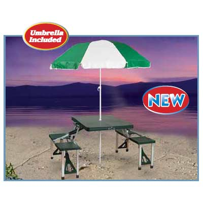 GL Portable Camp Table Folding Picnic Table and Umbrella Combo Pack at Sears.com