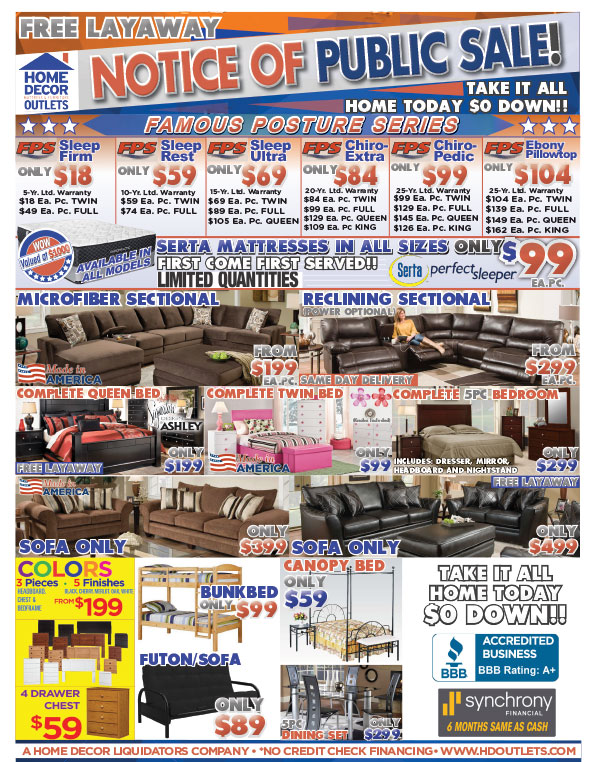 Furniture and Mattress Store Flyers Home Decor Outlets