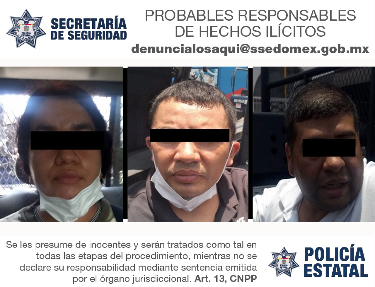 DETIENEN A TRES PROBABLES RESPONSABLES DE ROBO A CASA HABITACIÓN EN COACALCO