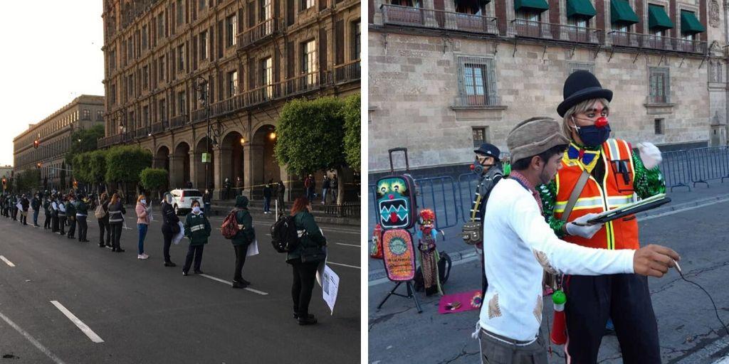 TRABAJADORAS DEL RTP Y ARTISTAS URBANOS SE MANIFESTARON EN EL ZÓCALO