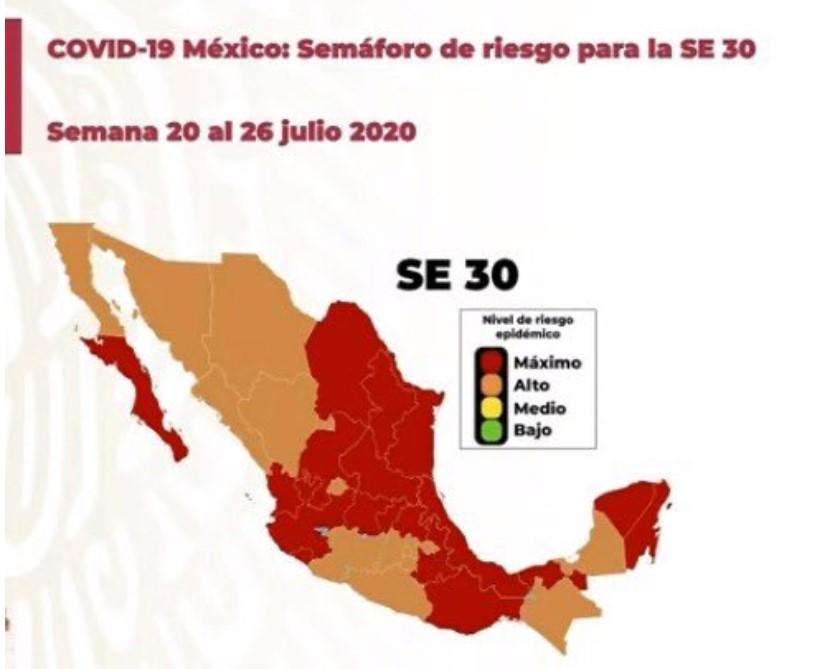 CONOCE EL SEMÁFORO EPIDEMIOLÓGICO VIGENTE DEL 20 AL 26 DE JULIO
