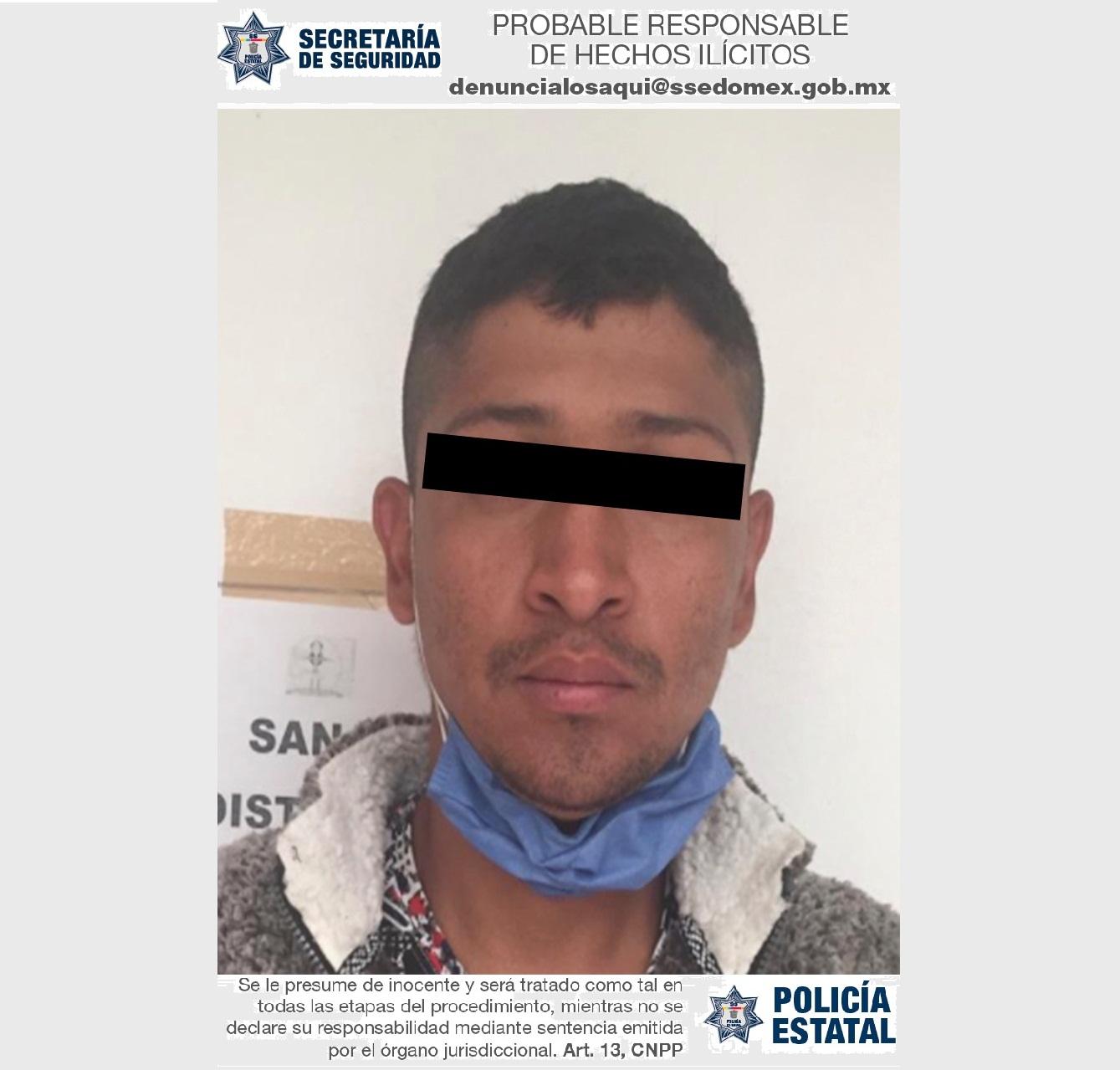 DETIENEN EN FLAGRANCIA A PROBABLE RESPONSABLE DEL ROBO CON VIOLENCIA A UN NEGOCIO