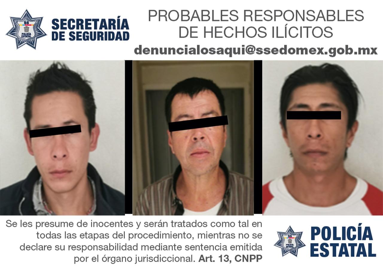 DETIENEN A TRES SUJETOS PROBABLES RESPONSABLES DE DELITOS CONTRA LA SALUD