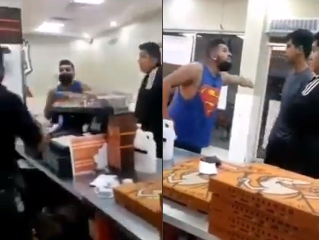 TRAS NEGARSE A VENDERLE UNA PIZZA, INSULTA Y GOLPEA AL PERSONAL; LO APODAN #LORDPIZZA