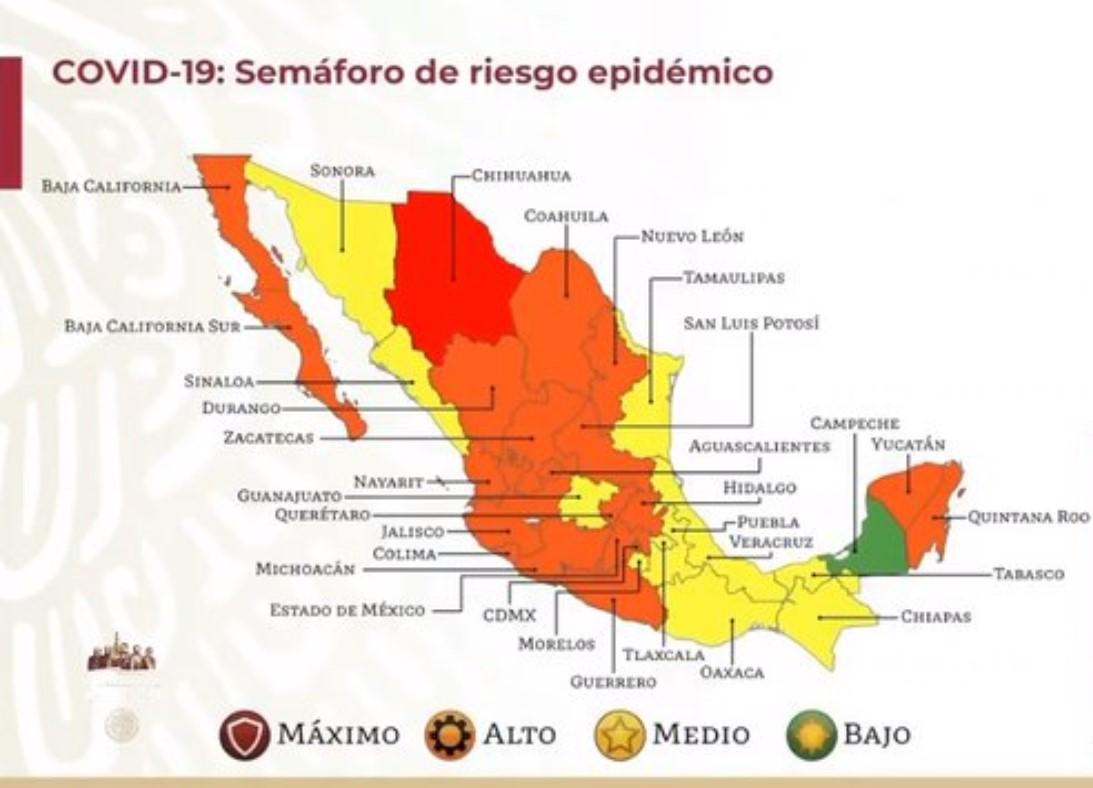 ASÍ QUEDÓ EL MAPA DEL SEMÁFORO EPIDEMIOLÓGICO; CHIHUAHUA REGRESA A COLOR ROJO