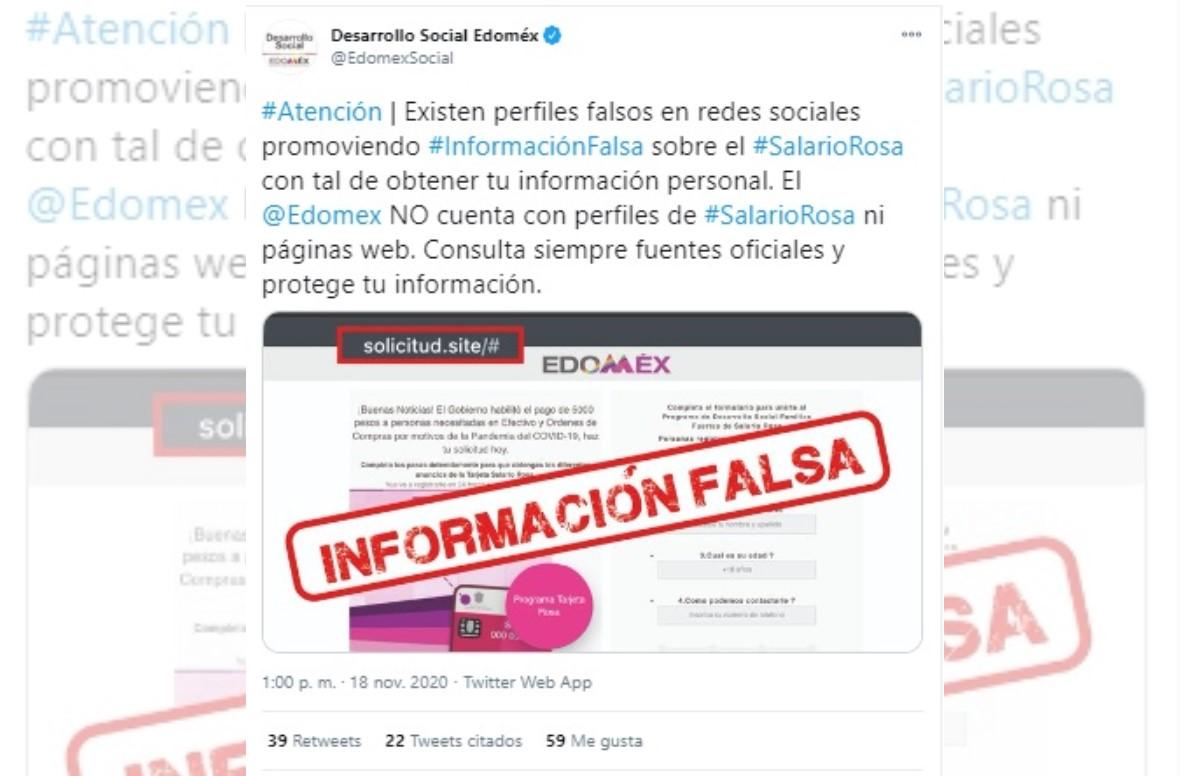 ALERTA DESARROLLO SOCIAL POR PORTALES FALSOS DEL SALARIO ROSA