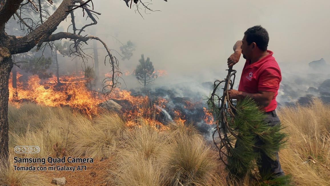 PROTECCIÓN CIVIL COMBATE INCENDIO FORESTAL EN EJIDO DE SAN JUAN DE LAS HUERTAS