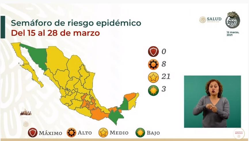 MÉXICO SE TIÑE DE AMARILLO; SONORA PASA A SEMÁFORO VERDE POR COVID-19