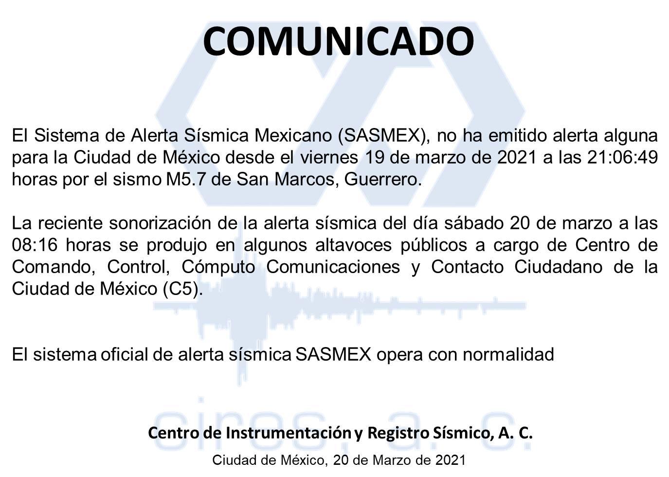 DESCARTAN EMISIÓN DE ALERTA SÍSMICA EN ALTAVOCES DEL SASMEX DURANTE ESTE SÁBADO
