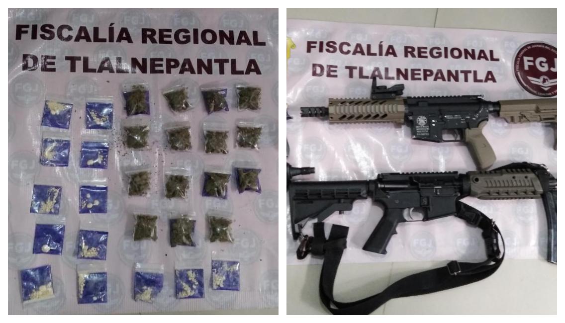 ASEGURAN ARMAS DE FUEGO Y ENVOLTORIOS DE DROGA TRAS CATEAR UN INMUEBLE EN TLALNEPANTLA