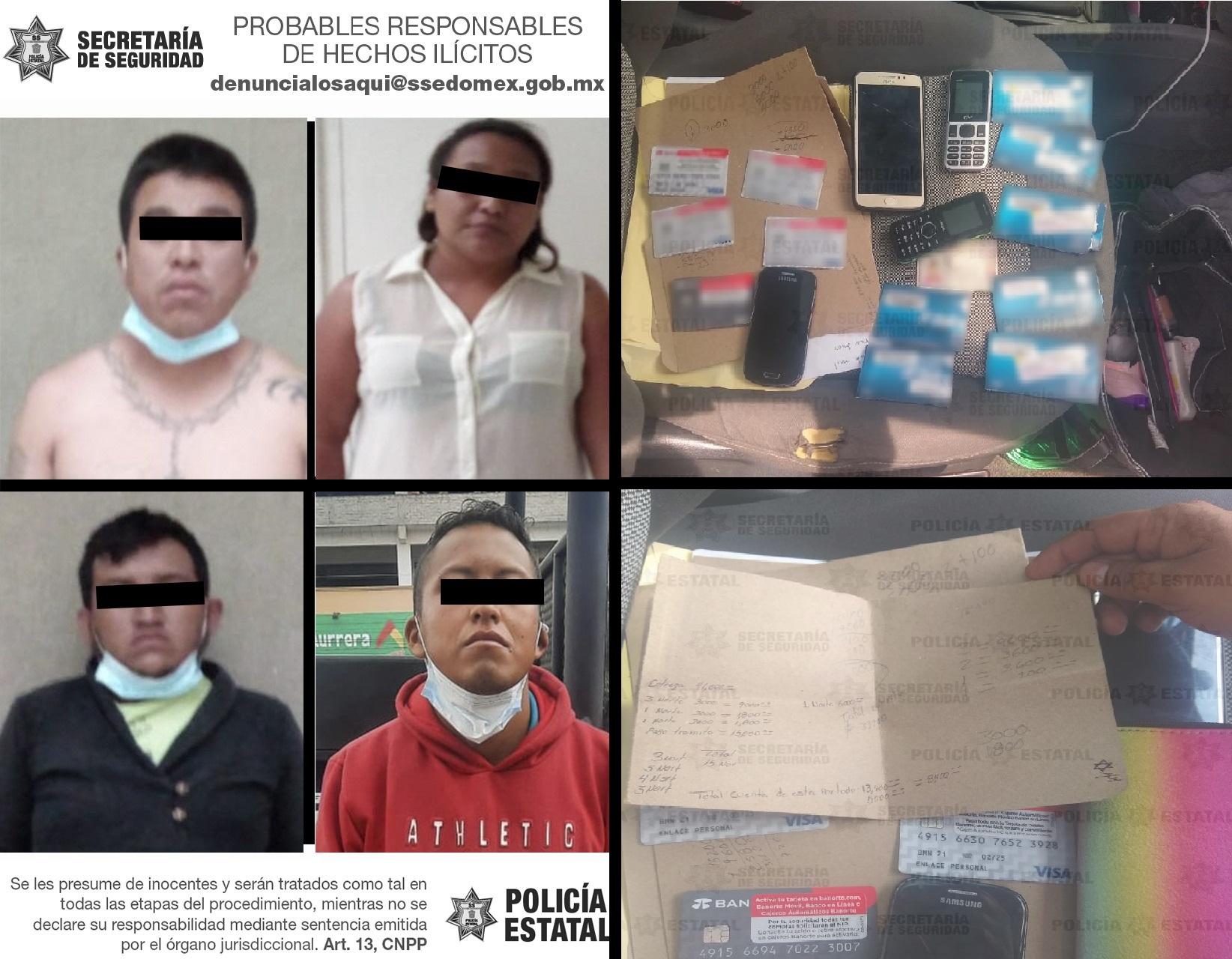 DETIENEN A CUATRO POSIBLES INTEGRANTES DE UNA BANDA DE EXTORSIONADORES