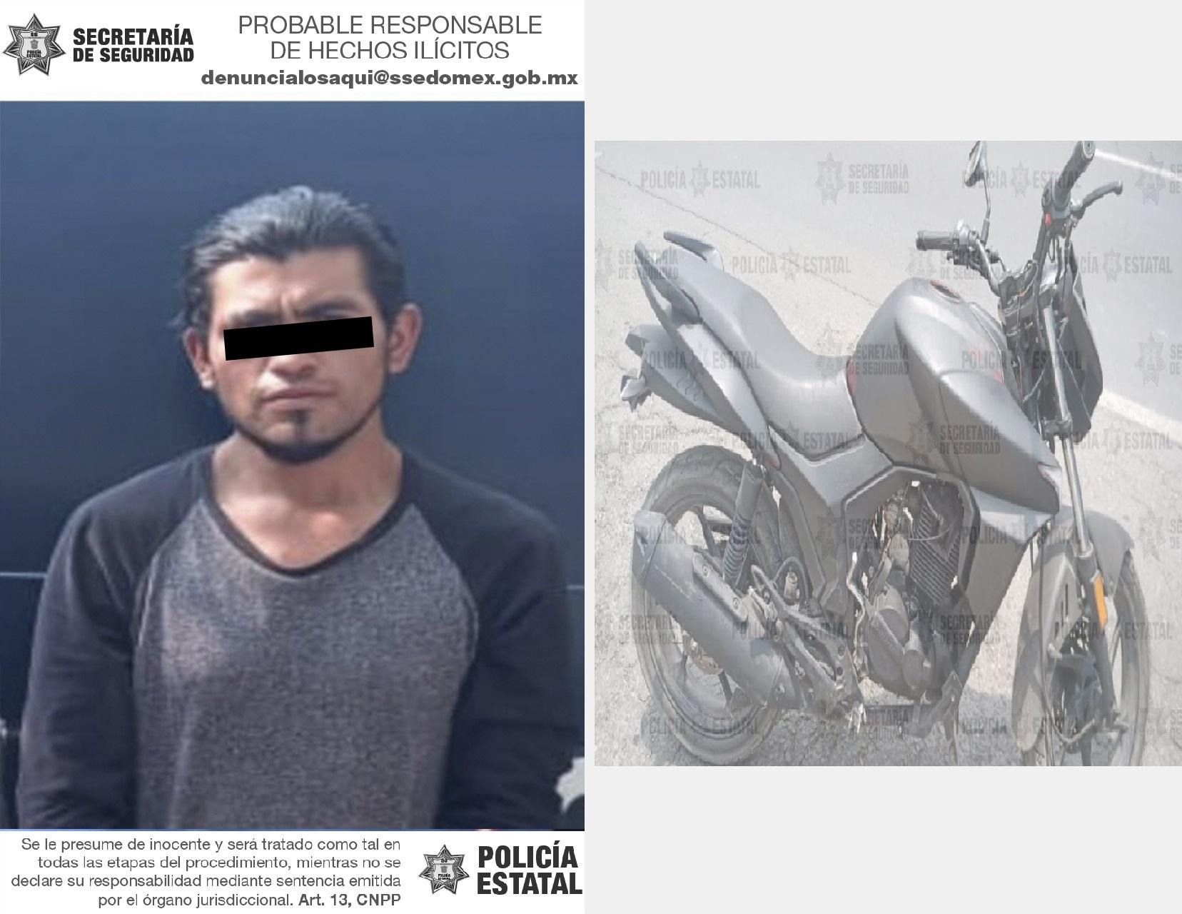 RECUPERAN EN TOLUCA UNA MOTOCICLETA CON REPORTE DE ROBO