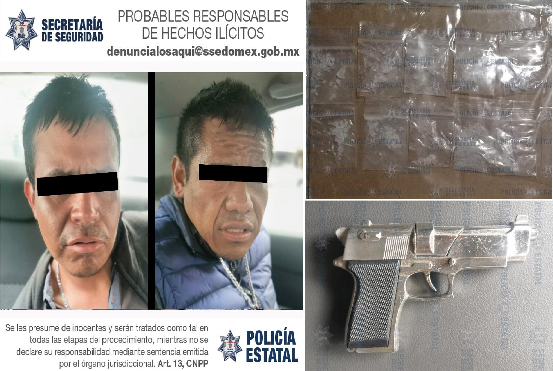 DETIENEN A DOS SUJETOS POR EL DELITO DE PORTACIÓN DE ARMA DE FUEGO Y CONTRA LA SALUD