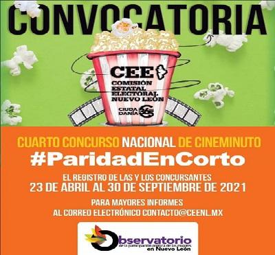 CONVOCAN AL IV CONCURSO NACIONAL DE CINEMINUTO #PARIDADENCORTO