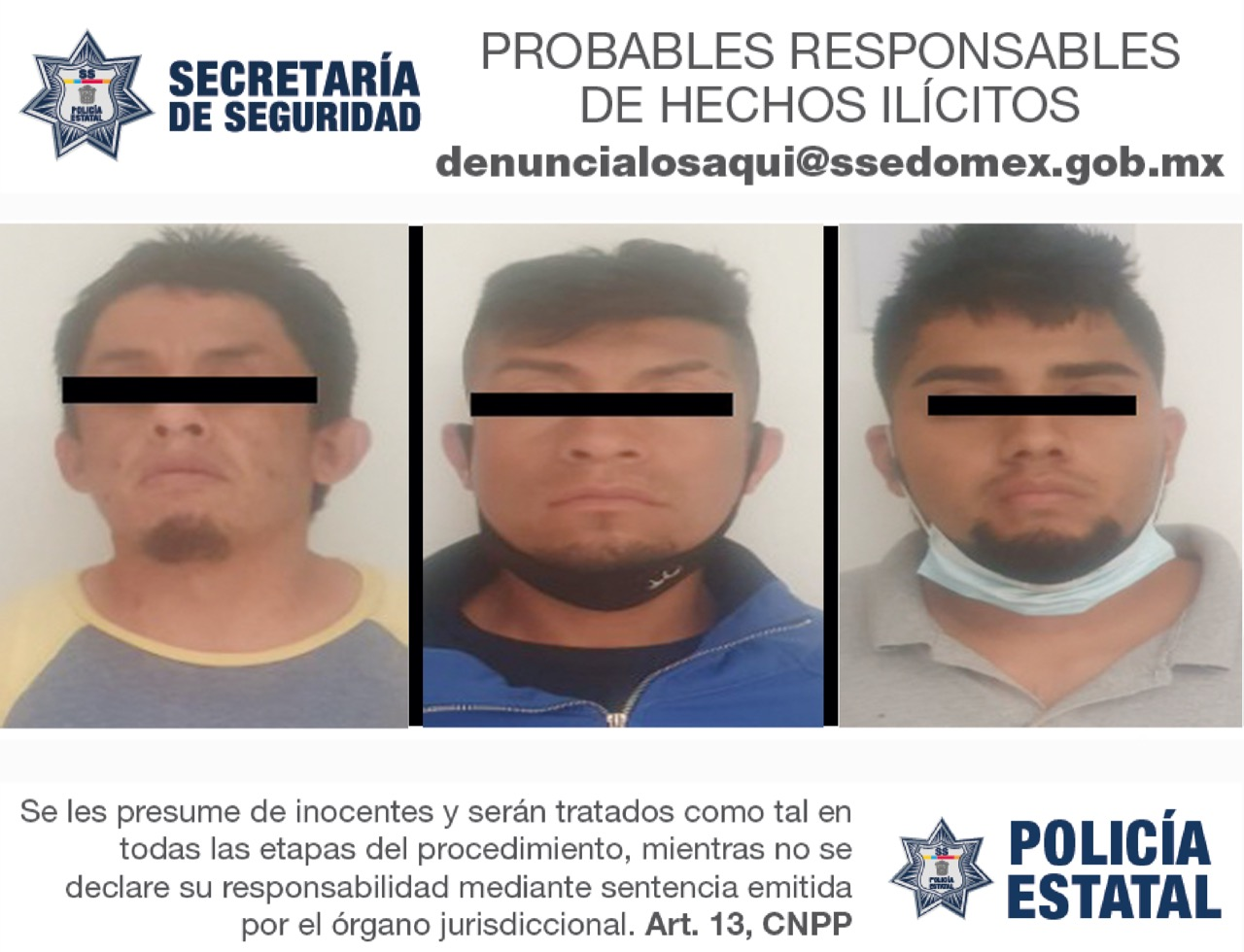 CAEN TRES PRESUNTOS RESPONSABLES DE ROBO CON VIOLENCIA A TRANSPORTE DE CARGA