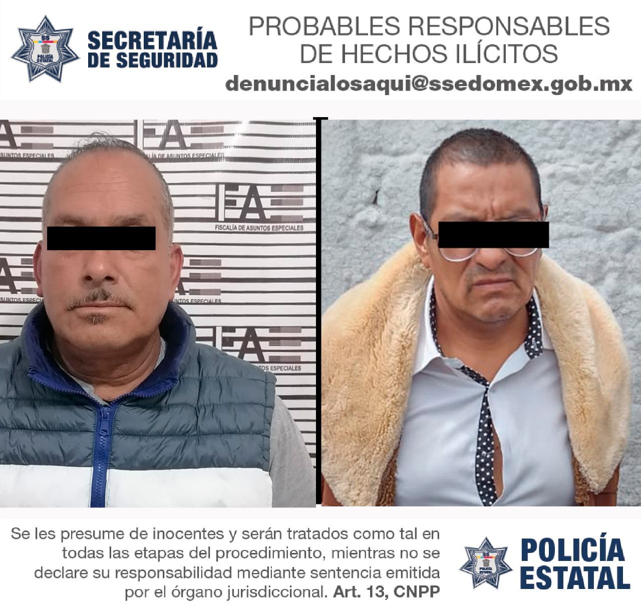 DETIENEN EN ZINACANTEPEC A 2 SUJETOS PRESUNTAMENTE IMPLICADOS EN DELITOS CONTRA LA SALUD