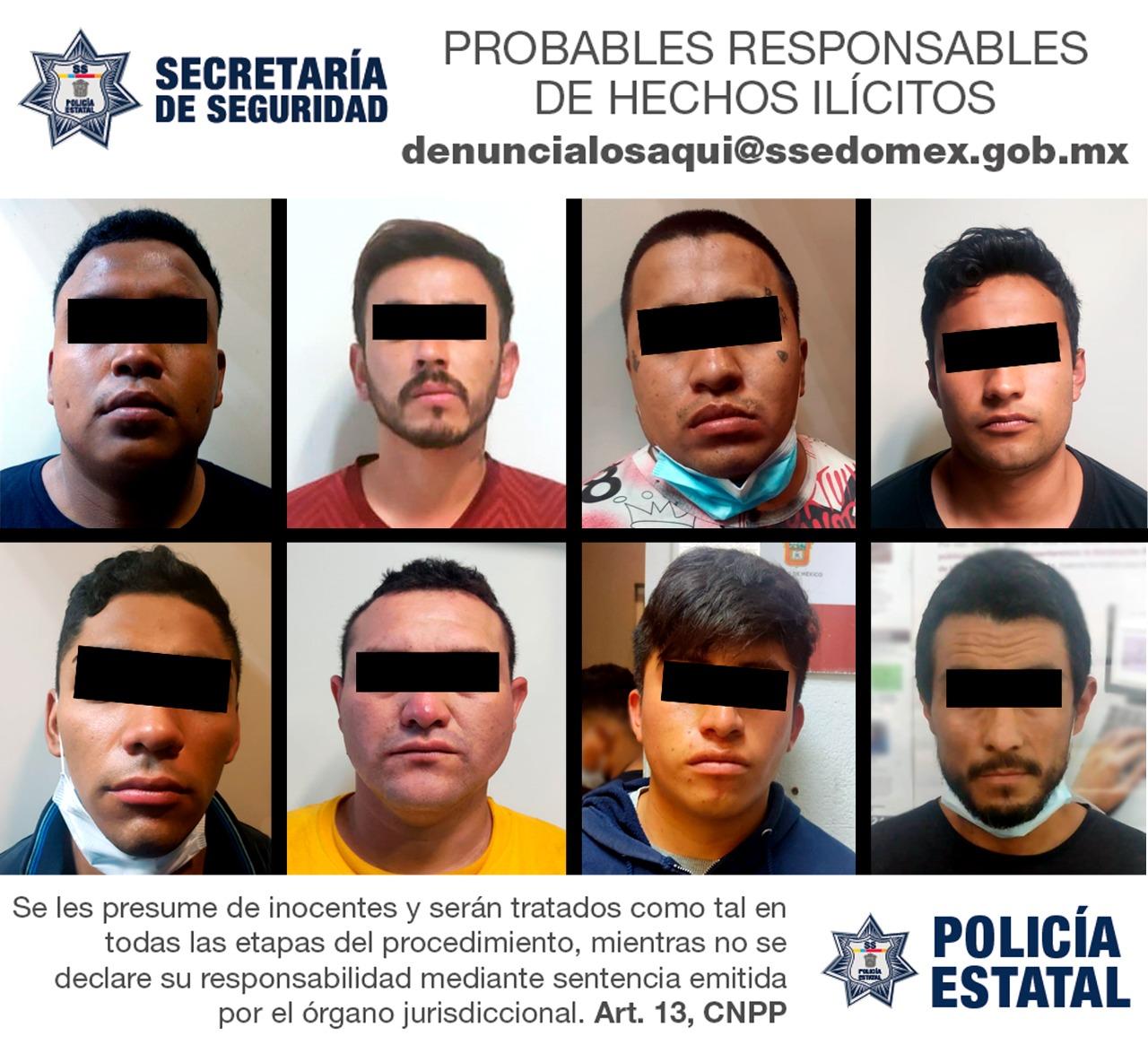 DETIENEN A OCHO POSIBLES RESPONSABLES DE ROBO CON VIOLENCIA Y PORTACIÓN DE ARMA