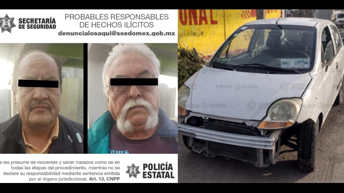 POLICÍAS ESTATALES ASEGURAN AUTOMÓVIL RELACIONADO EN EL DELITO DE HOMICIDIO; DETIENEN A DOS SUJETOS