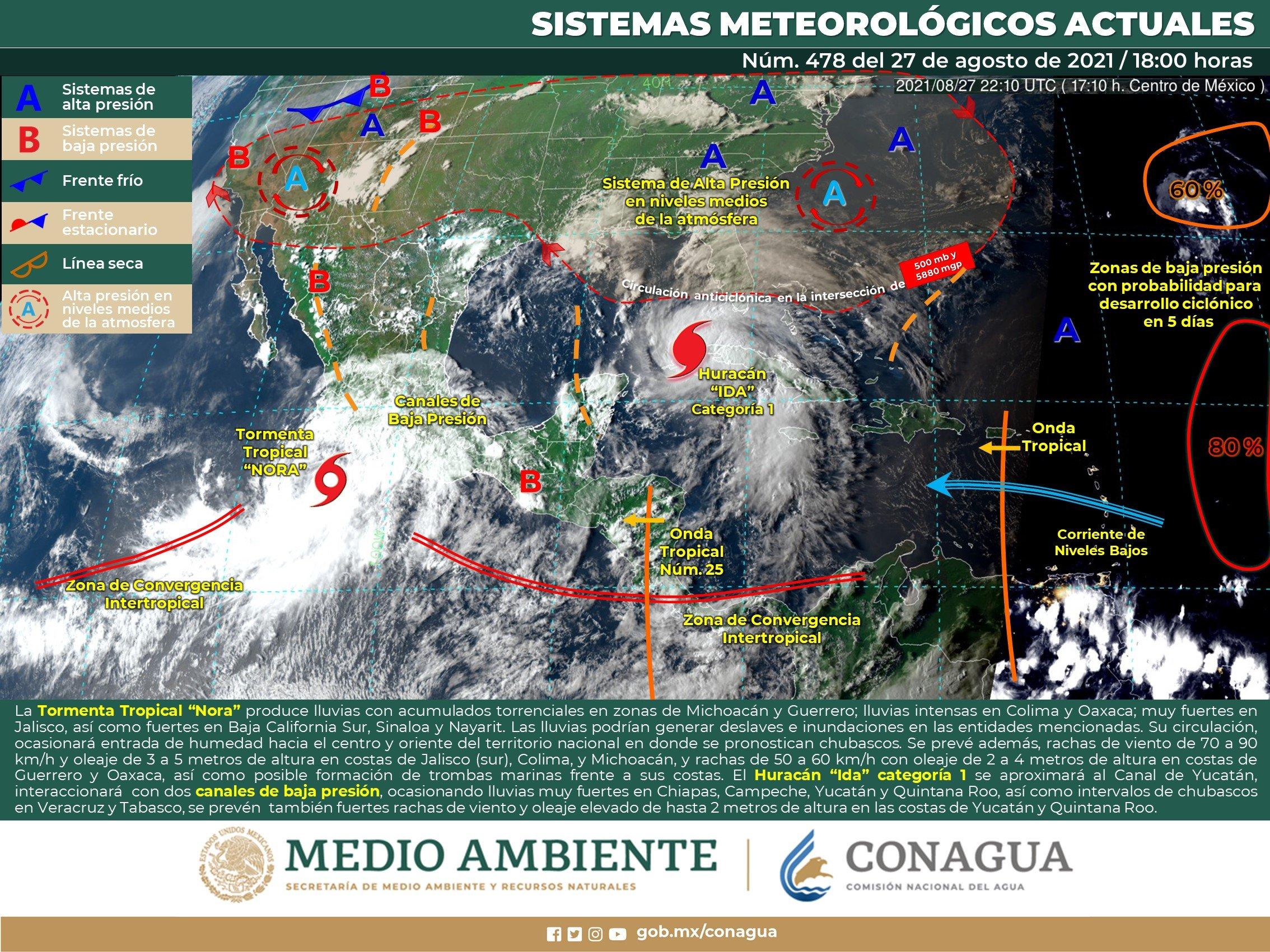 TORMENTA TROPICAL NORA OCASIONARÁ LLUVIAS GUERRERO Y MICHOACÁN