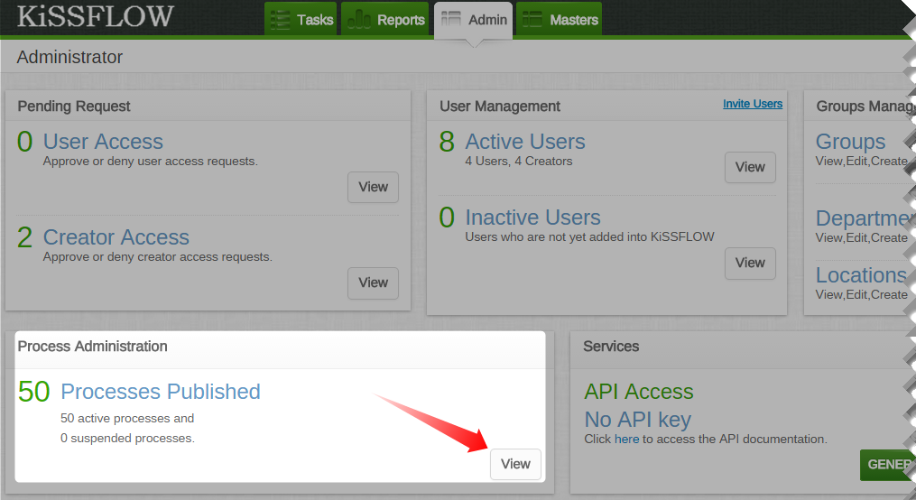 On the Admin tab of KiSSFLOW main screen, click View corresponding to  Processes Published in Process Administration panel.