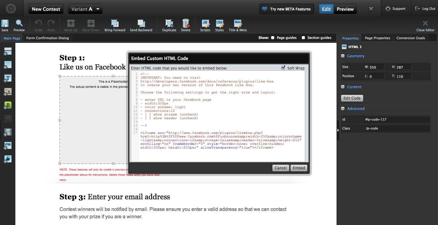 Then Visit The Facebook Developers Page And Use The Code Generator In The  Middle Of The