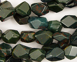 Bloodstone Faceted Nugget 12x8mm