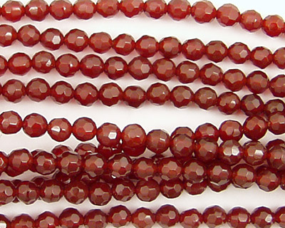 Carnelian Faceted Round 4mm