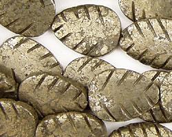Golden Pyrite Carved Leaf 20x15mm