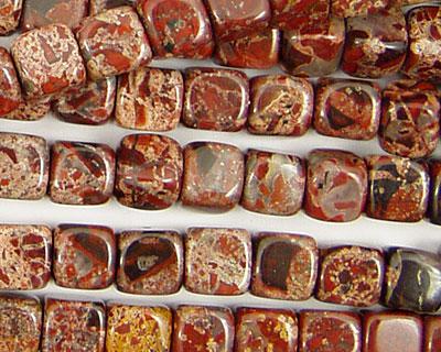 Poppy Jasper Round Edge Cube 7mm