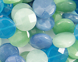 Blue Quartz (rainbow) Faceted Coin 12mm