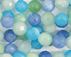 Blue Quartz (rainbow) Faceted Round 8mm