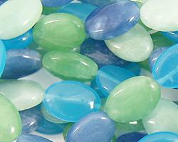 Blue Quartz (rainbow) Flat Oval 14x10mm