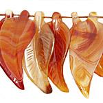 Carnelian (natural) Carved Leaf 16x45mm